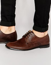 Asos Derby Shoes In Leather Brown