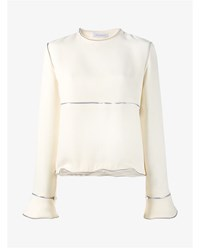 J.W.Anderson Zip Trim Long Sleeve Blouse Off White Silver Black