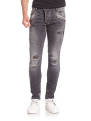 Balmain Faded Distressed Patch Slim Fit Jeans Black