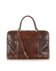 Chiarugi Double Handle Leather Briefcase Brown