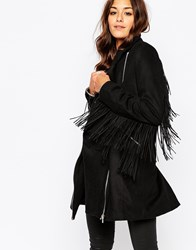 Religion Tailored Wool Mix Coat With Tassels Black