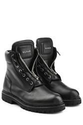 Balmain Leather Zip Front Combat Boots Black