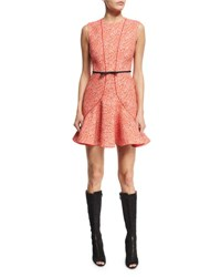 Giambattista Valli Sleeveless Seamed Bow Waist Dress Red Polka Dot Red Polk Dot