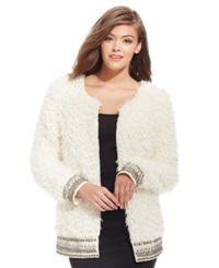 Jessica Simpson Kassidy Embellished Faux Shearling Jacket Natural