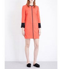 Victoria Beckham Pleated Cuff Wool Crepe Shift Dress Hot Coral
