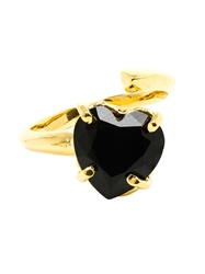 Bijules 14Kt Gold Vermeil And Black Onyx Heart Ring