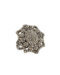 Bavna Silver Pave Diamond Floral Ring Women's