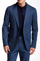 Paisley And Gray Slim Fit Two Button Notch Lapel Unconstructed Blazer Blue