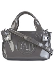 Armani Jeans Embossed Logo Small Tote Grey