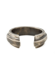 Ann Demeulemeester Carved Ring Metallic
