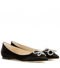Jimmy Choo Veil Embellished Satin Ballerinas Black
