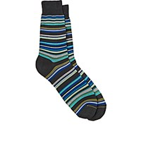 Barneys New York Men's Mixed Stripe Mid Calf Socks Grey