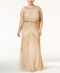 Adrianna Papell Plus Size Beaded Blouson Gown Champagne Gold