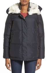 Bernardo Hooded Down And Feather Fill Parka With Faux Fur Trim Blue