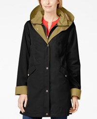 Jones New York Petite Hooded A Line Rain Coat Black
