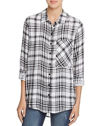Aqua Jordan Plaid Button Down Shirt Black White