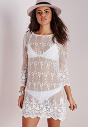 Missguided Sheer Lace Swing Dress White White