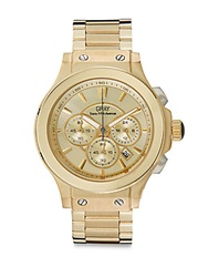 Saks Fifth Avenue Goldtone Ip Stainless Steel Chronograph Dial Watch