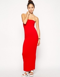 American Apparel Jersey Tube Maxi Dress Red