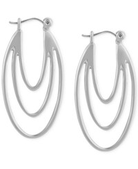 T Tahari Silver Tone Leverback Drop Earrings