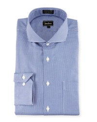 Neiman Marcus Classic Fit Non Iron Houndstooth Dress Shirt Blue