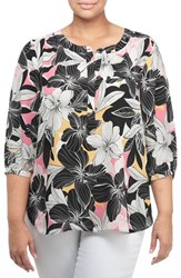 Nydj Plus Size Women's Henley Top Floral Mirage Pink Lemonade