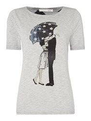 Oui Umbrella Print T Shirt Grey