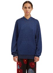 Msgm Metallic Hooded Sweater Blue