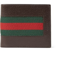 Gucci Stripe Trimmed Leather Billfold Wallet Brown
