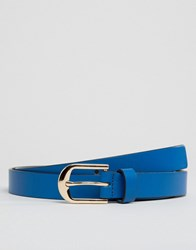 Smith And Canova Skinny Leather Belt Blue