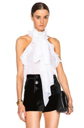 Emilio Pucci Sleeveless Ruffle Blouse In White