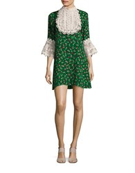 Anna Sui Lace Bib Shirt Dress Green