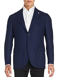 Versace Solid Button Down Jacket Blue