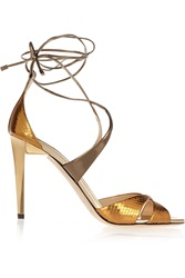Jimmy Choo Teira Metallic Ayers And Mirrored Leather Sandals