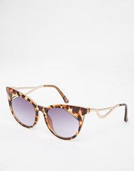 Asos Cat Eye Sunglasses With Square Corner Lens Tort Brown