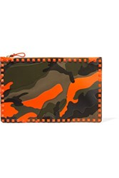 Valentino Rockstud Printed Canvas And Leather Clutch Army Green
