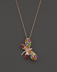 Bloomingdale's Multi Gemstone And Diamond Butterfly Pendant Necklace In 14K Rose Gold 18 Pink Multi