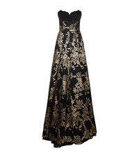Andrew Gn Beaded Bodice Brocade Gown Female Black