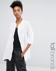 Noisy May Tall Oversized Shirt With Zip Front Detail White