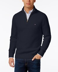 Tommy Hilfiger Men's Harrington Quarter Zip Sweater Navy Blazer