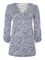 Michael Kors Printed Lace Up Tunic Top Navy