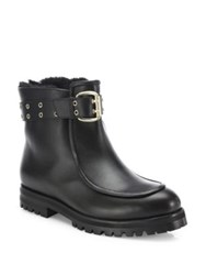 Jimmy Choo Shearling Fur Lined Leather Boots Black