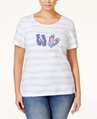 Karen Scott Plus Size Flip Flop Graphic T Shirt Only At Macy's Bright White
