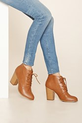 Forever 21 Faux Leather Lace Up Booties