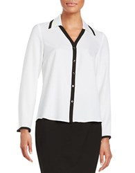Nipon Boutique Collared Crepe Button Front Shirt White Black
