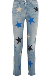 Stella Mccartney Printed Mid Rise Straight Leg Jeans Blue