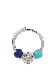 Elise Dray Diamond Turquoise And Lapis Mini Rock Earring White Gold