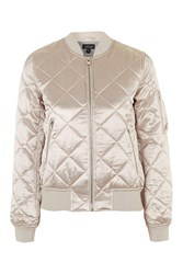 Topshop Quilted Shiny Ma1 Bomber Jacket Pale Pink
