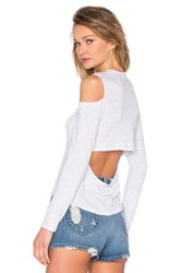 Monrow Open Back Cut Out Tee Gray