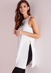 Missguided Asymmetric Longline Tunic White